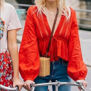 Free people Oberoi top in red